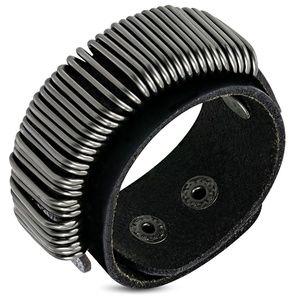 Genuine Black Leather Multi Wrap Wire Snap